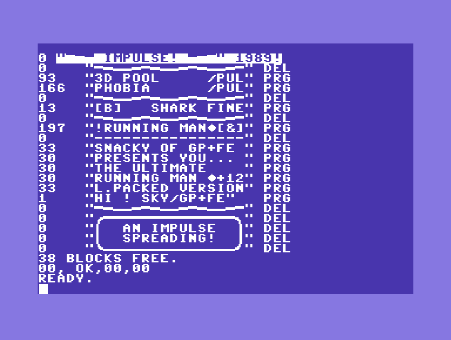 C64 screenshot, view of a directory list