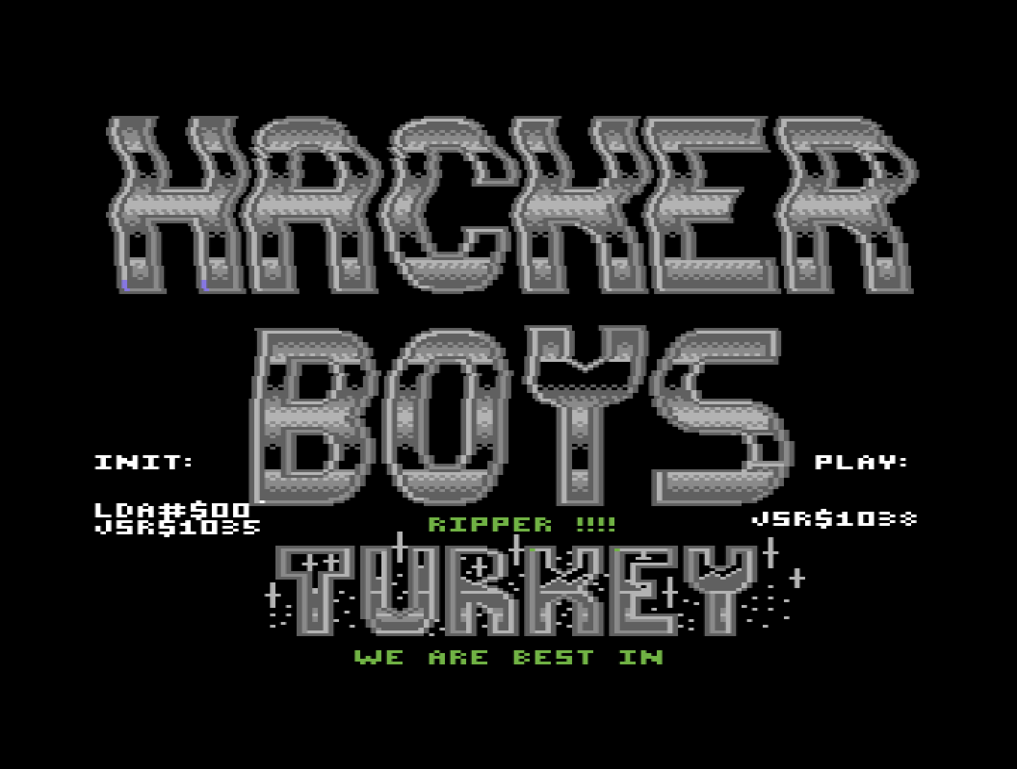 C64 screenshot: the hacker boys music player